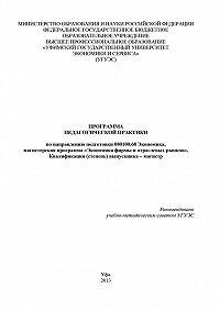Гульнара Шайхутдинова -Программа педагогической практики по направлению подготовки 080100.68 «Экономика, магистерская программа Экономическая безопасность». Квалификация (степень) выпускника – магистр